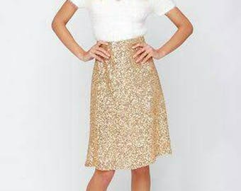 Yours and Mine Fall 2017 Womens Sequin Skirt: Custom Made, A-line, Gold Sequins All Sizes Available USA Seller