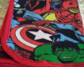 Soft Marvel Comic Book Characters / Heros Child or Baby Blanket With Hand-Made Red Crochet Trim