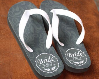 Bride flip flops - Personalized Flip Flops for Bride and Honeymoon (print design as pictured)