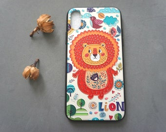 Oil Painting Style iPhone X case, iPhone x case, iPhone x cover, Cute iPhone x case, Lion iphone x case
