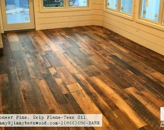Ready to Install Reclaimed Wood Floor, Pine Floor, Skip Planed, Barnwood Flooring, Reclaimed Wood, Rustic Pine Flooring, Barn Flooring