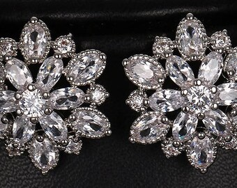 Crystal flower bridal earrings