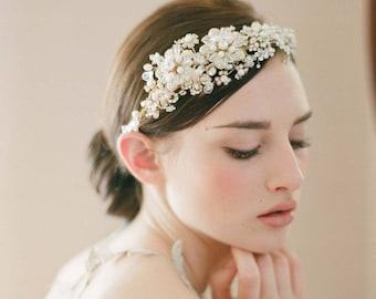 Gold pearl and crystal bridal headband