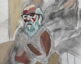 Vintage large expressionist portrait gouache painting