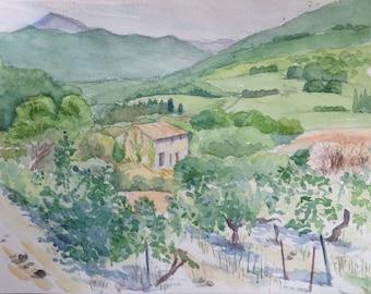 Mas et vignobles farm landscape paysage landschap vineyards Provence Vaucluse watercolor painting peinture aquarelle aquarel wasserfarben