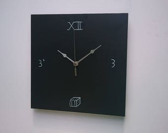 Premium 300mm Chalkboard Clock (Square)  |  4mm Aluminium  |  Blackboard Clock  |  Contemporary  |  Modern  |  Wall mounted  |  Floating