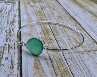Natural Aqua Green Faceted Chalcedony Gemstone Silver Bangle Bracelet
