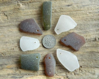 8 Drilled Sea Glass Pendant Pieces