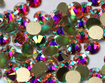 Swarovski Crystal AB flat back all size stones rhinestone gems charms non hotfix for nail art design shoes clothes etc