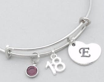 18th birthday heart initial bracelet | 18th birthday jewelry | 18th bangle | personalised 18th gift | eighteenth | 18th gift for girl