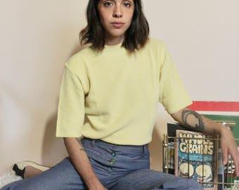 90s Knit Turtleneck, Mellow Yellow turtleneck,  Pastel yellow, Woman's blouse , Woman's Size Medium, Vintage Woman's Sweater, Yellow Knit