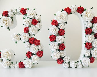 Flower numbers // flower letters //birthday gift // anniversary gift // birthday decor // party decor //