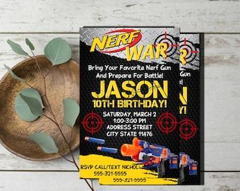 Nerf Invitation,Nerf Party Invitation,Nerf Birthday Invitation,Nerf Gun Invitation,Nerf War Invitation