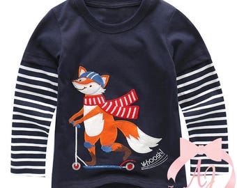 Long Sleeve Fox on a Scooter Applique Shirt