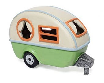 Miniature Fairy Garden Camping Trailer with solar light
