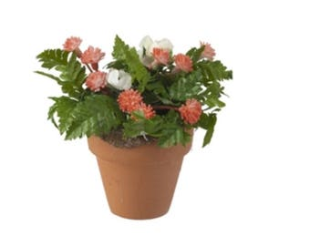 Dollhouse Miniature Peach Potted Plant