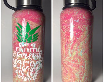 Be A Pineapple Pink Yellow Aqua Hydrodipped Hydro Flask or Tumbler