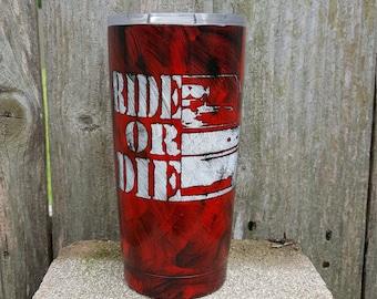 20oz Ride or Die marble Tumbler by Drink Unique
