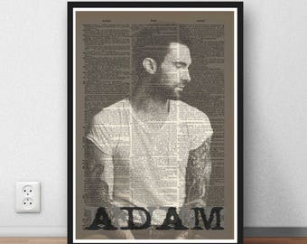 Adam Levine ARt poster print wall decor moc dictionary page gift