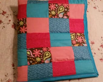 Turquoise pink and brown paisley crib quilt