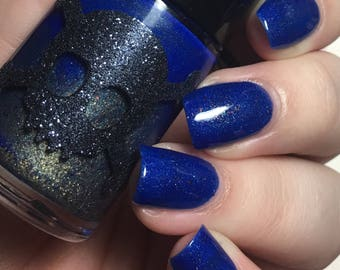 Midnight Constellation with holo, gold shimmer and copper flakies-Galactic Line by Necessary Evil Polish.