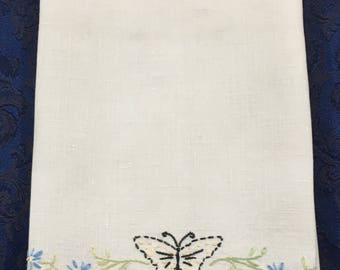 Vintage Linen Dish Towel with Orange Trim and Embroidered Butterfly and Flowers