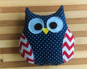 Owl Toy with Squeaker - Blue Polka Dots & Chevron Wings, Plush Toy