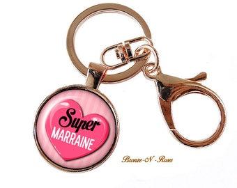 Porte clés Super marraine cabochon cadeau verre métal rose coeur
