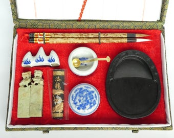 Vintage Chinese Calligraphy Set