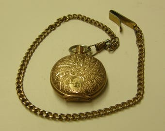 Antique Ca. 1898 Hampden Gold Filled Pocket Watch and Chain - Not Running