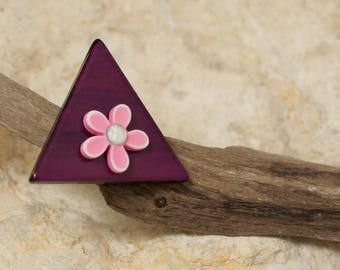 purple flowers triangle ring Pink White rhinestone