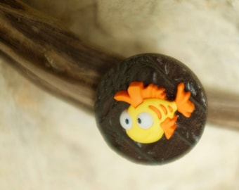 Leather Brown and yellow fish ring