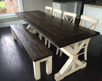 antiqued trestle farm table set