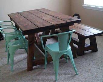 Rustic Wide Plank Truss Table