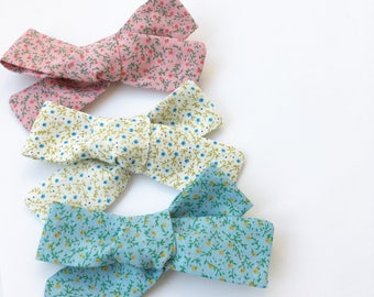Oversized Hand Tied Cotton Bow - Hair Clips - Hair bows - Nylon headbands - Alligator Clips - Floral Bow - Gift - Baby shower gift