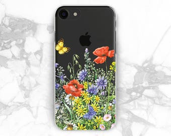 Flowers case Poppies flowers Floral iPhone 5 case Wildflowers iPhones 6s plus case iPhone7 iPhone8 plus Case for phone iPhone7plus case