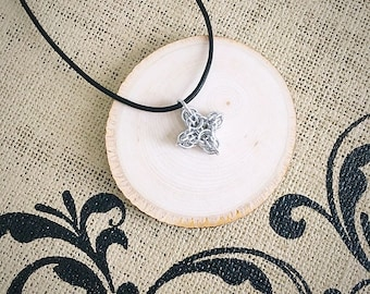 Choice of Chainmail Necklace - Diamond Pendant on Genuine Leather Necklace
