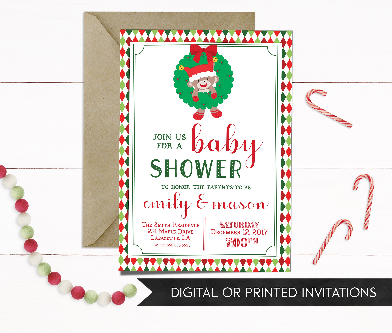 Baby Shower Christmas Invitation, Christmas Baby Shower Invitation ...