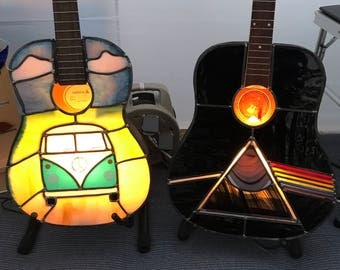 Stained Glass Guitar Lamp Pink Floyd Dark Side of the Moon VW Campervan - your design!