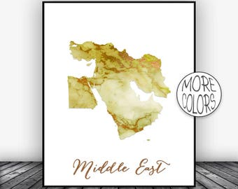 Middle East Map, Middle East Print, Middle East Art, Map Wall Art Print, Office Prints, Housewarming Gift, Watercolor Art, ArtPrintsZoe