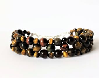 Tiger eye gemstone multistrand woven bead bracelet