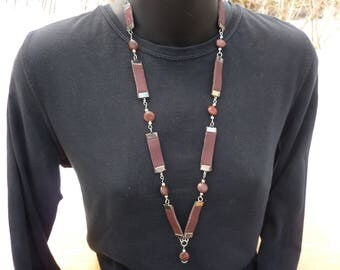 Leather and stone women necklace
