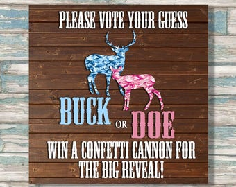 Buck or Doe Gender Reveal - Place your guess sign - The big reveal prediction - gender reveal party decor - instant download