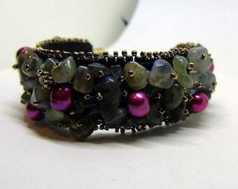 "Bead embroidery cuff bracelet ""Wild berries in the mist"" - grey bracelet - embroidered bracelet - labradorite bracelet - casual jewelry"