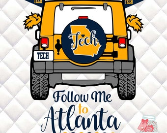 Georgia Tech - Follow Me to Atlanta - Tailgating Jeep SVG, Silhouette studio bundle -  design download