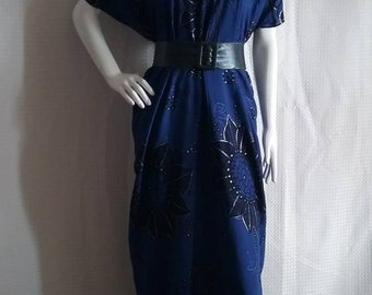 Dark blue maxi dress available to order
