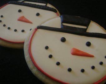 Snowman cookies | Custom decorated Christmas cookies | Frosty Face Cookie