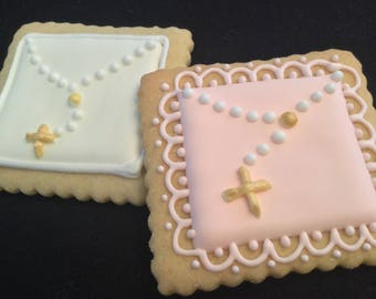 Pink square cookie | Mini gold rosary | Square Baptism favors | Custom decorated baby Christening cookies | Bautizo | Lace border