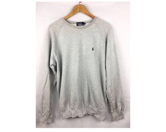 POLO by Ralph Lauren Long Sleeve Sweatshirt Pull Over Large Size with Small Embroidered Logo