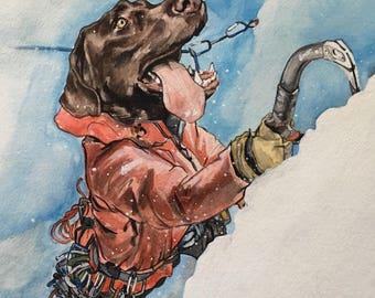 Dog Character Painting-Dog Portraits-Custom Watercolor Pet Portrait-Unique Gift-Pet Portrait-Outdoors-Mountain Climber-Mount Everest